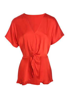 Blouse manches courtes a nud rouge femme