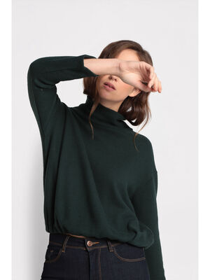 Pull col roule taille coulisse vert fonce femme