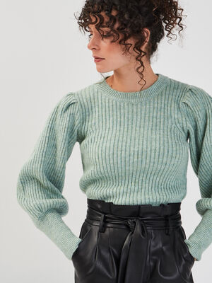 Pull manches bouffantes vert pastel femme