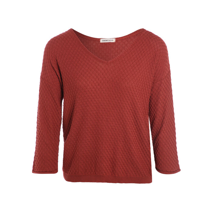 Pull manches 3/4 roulottées terracotta femme