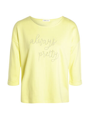 Sweat a message brode jaune pastel femme