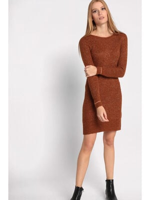 Robe pull manches longues marron femme