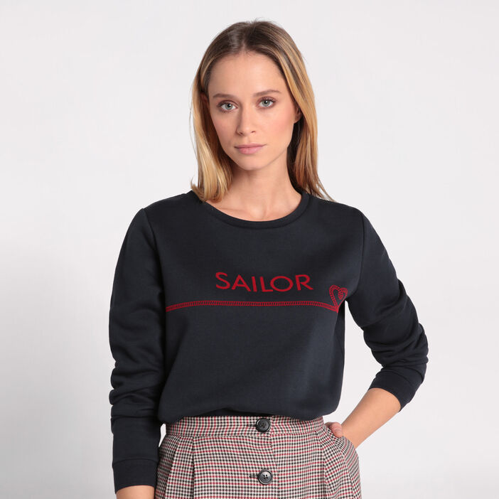Sweat manches longues col rond bleu marine femme
