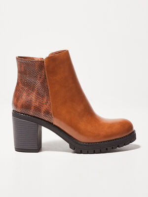 Bottines a talons crantees marron femme