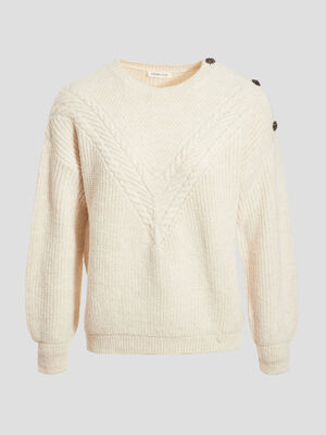 Pull avec boutons sable femme