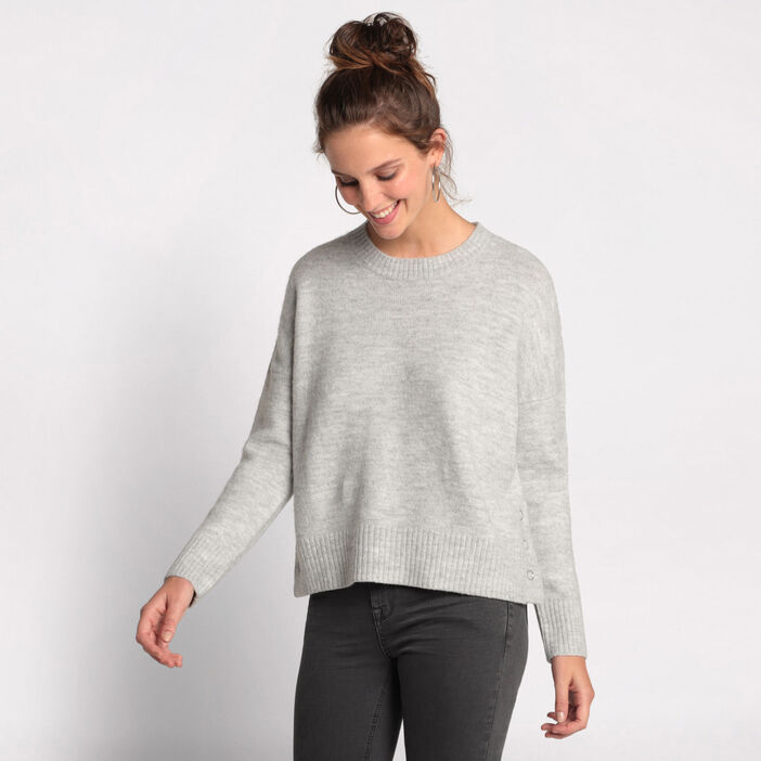 Pull manches longues boutons gris clair femme