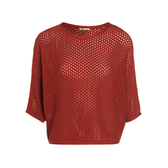 Pull manches 3/4 maille ajourée terracotta femme