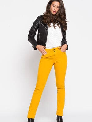 Pantalon regular basique jaune or femme