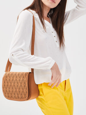 Sac besace details perfores marron femme