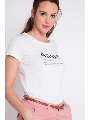 T shirt definition mot amour ecru femme