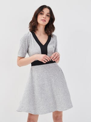 Robe evasee manches courtes gris clair femme
