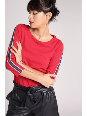 Sweat manches 34 bandes laterales rouge femme