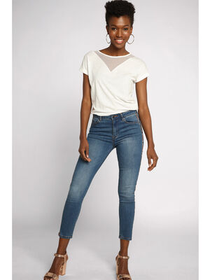 Jeans skinny used taille haute denim stone femme