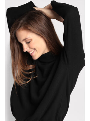 Pull col roule taille coulisse noir femme
