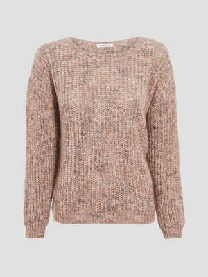 Pull avec col rond sable femme