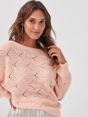 Pull ajoure col bateau rose poudree femme