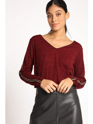 Top manches longues a bandes laterales rouge fonce femme