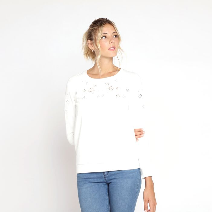 Sweatshirt manches longues broderie blanc femme