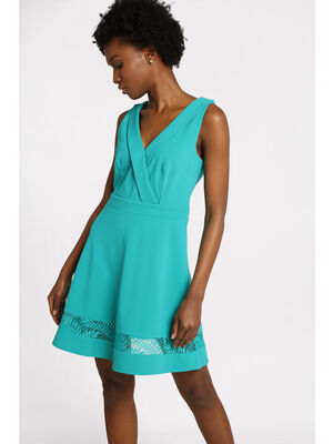 Robe courte evasee cache coeur bleu turquoise femme