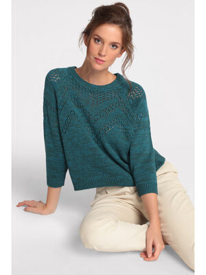 Pull manches 34 ajoure vert canard femme