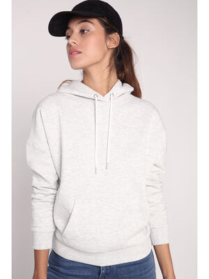 Sweat basic capuche gris clair femme