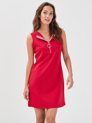 Robe polo sans manches rouge femme
