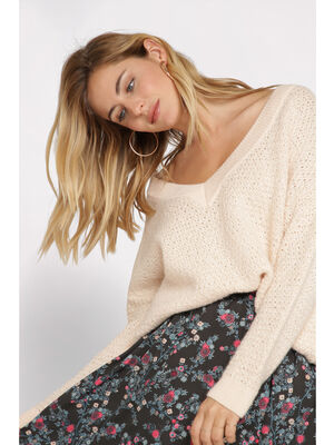 Pull manches longues ajoure rose clair femme