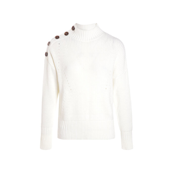 Pull manches longues maille ecru femme