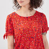 T shirt manches courtes smocke rouge femme