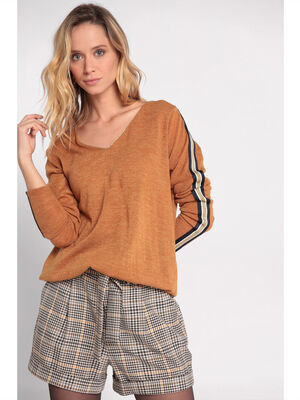 Top manches longues a bandes laterales jaune fonce femme