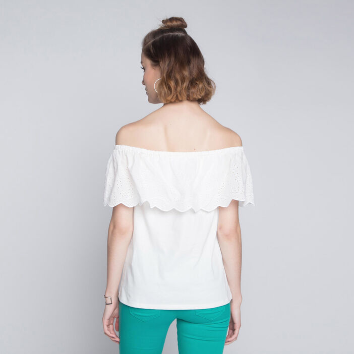 Top volant broderie anglaise ecru femme