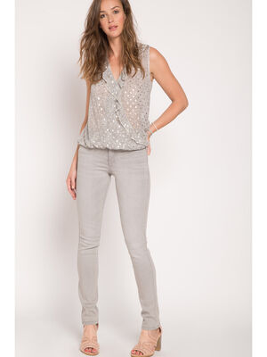 Pantalon 5 poches coupe regular denim gris femme