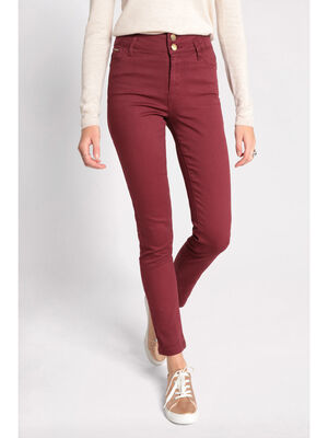 Pantalon slim effet push up bordeaux femme