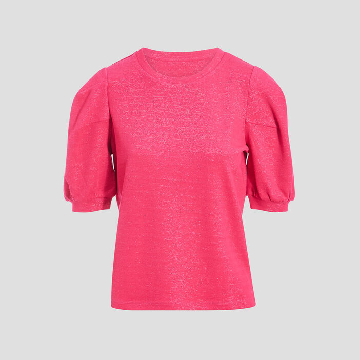 Pull manches ballons rose fluo femme