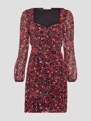 Robe droite manches longues rouge femme