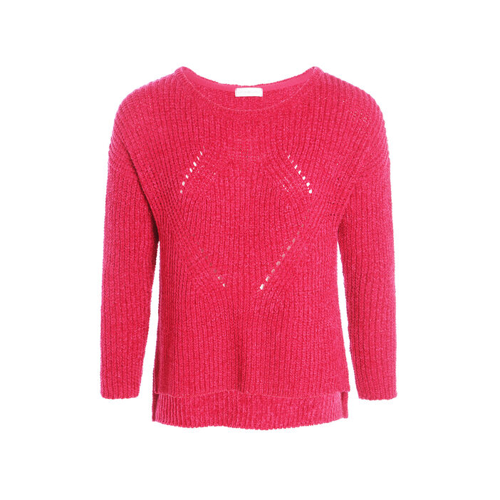 Pull manches longues maille chenille rose fushia femme