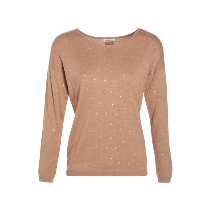 Pull manches longues à boutons creme femme