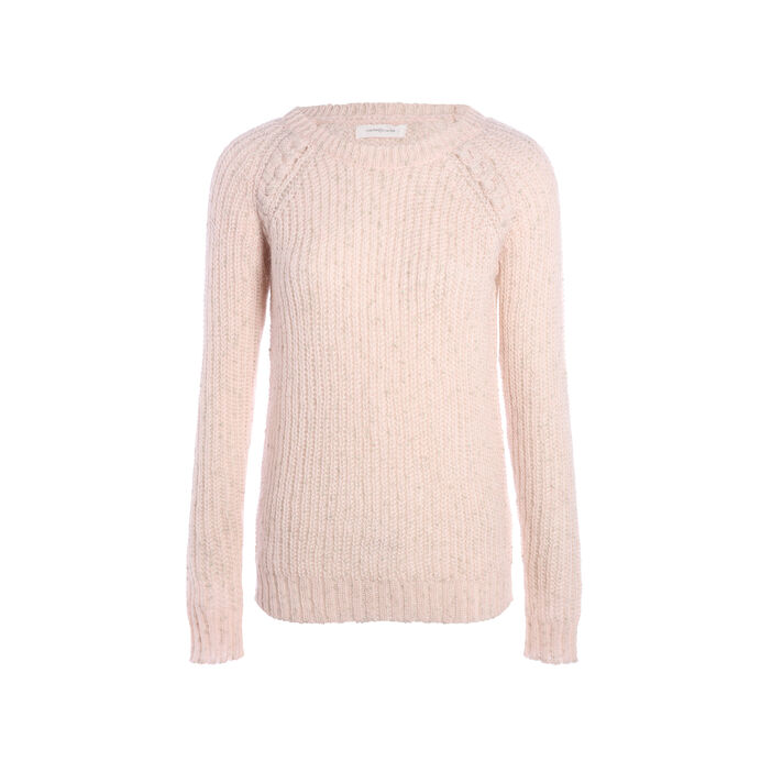 Pull maille col rond vieux rose femme