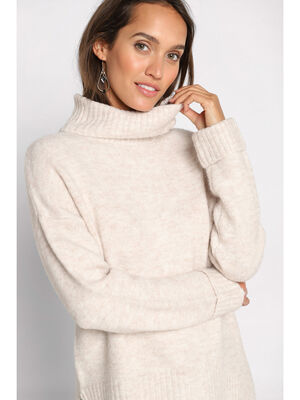 Pull manches longues col roule sable femme
