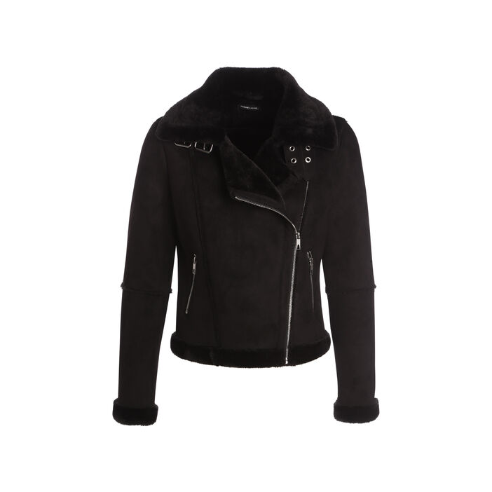 Blouson style motard peau retournée noir femme