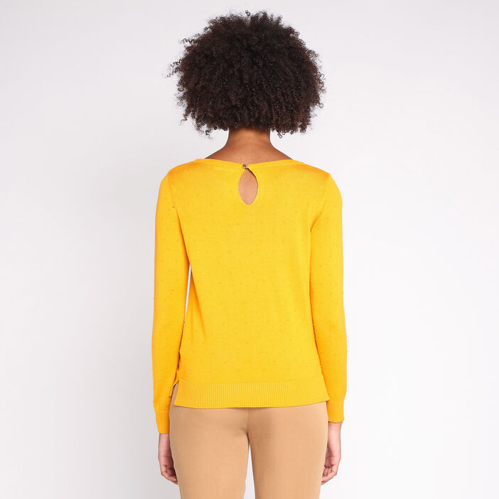 Pull manches longues col rond uni jaune moutarde femme