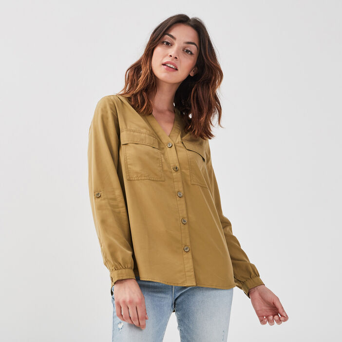 Chemise manches longues vert olive femme