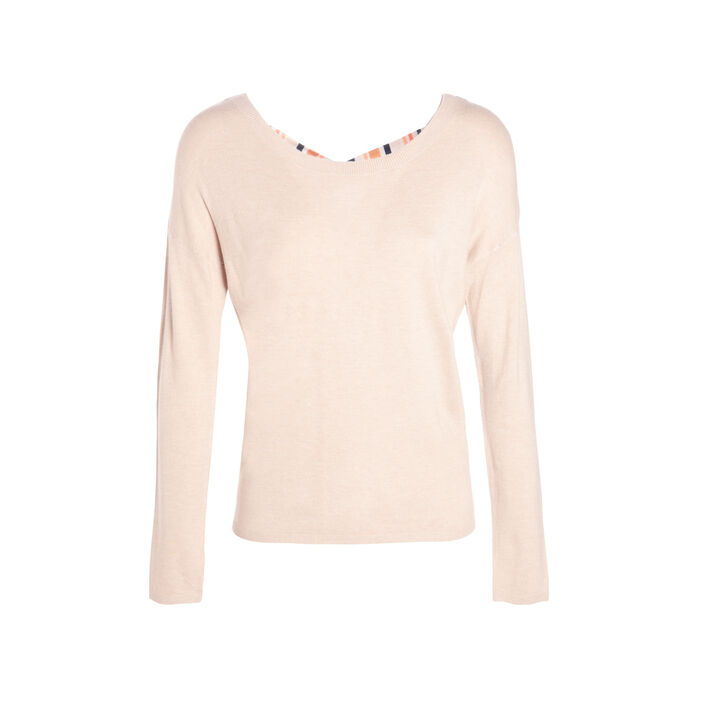 Pull col rond dos ouvert sable femme