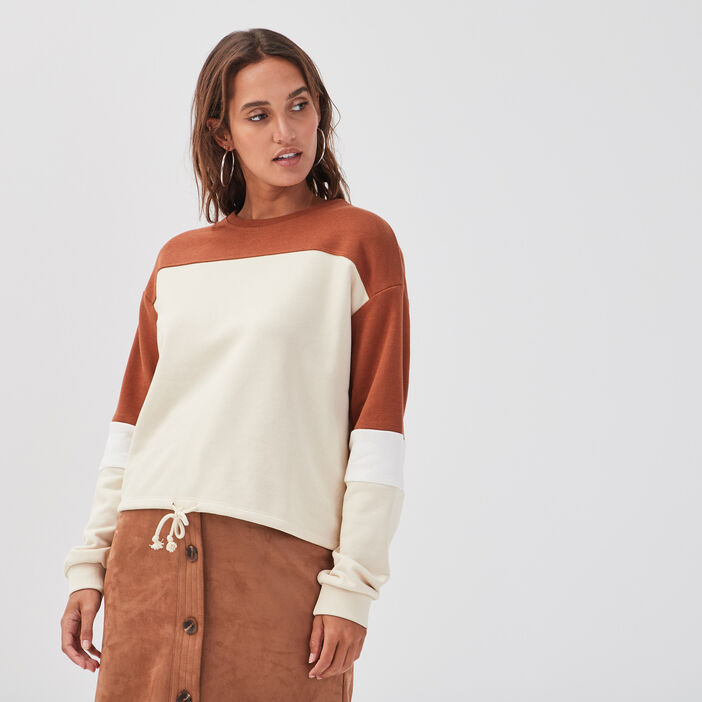 Sweat taille coulisse ivoire femme