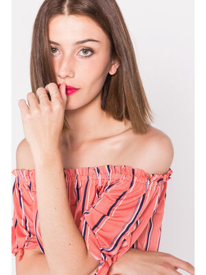 Top manches nouees rose corail femme