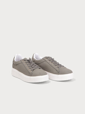 Baskets plates colorees a lacets vert kaki femme