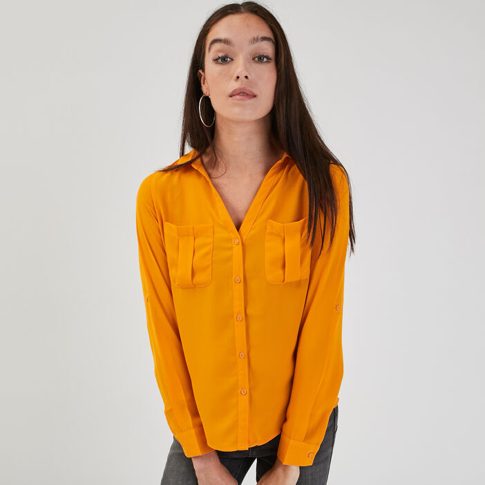 Chemise manches longues jaune moutarde femme