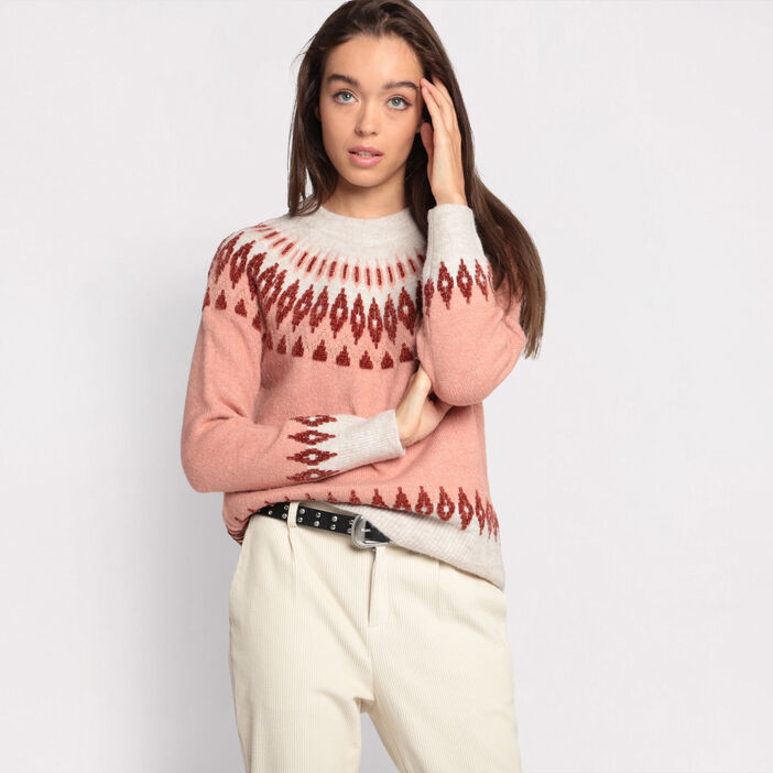 Pull manches longues col rond rose femme
