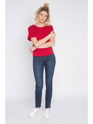 Jeans regular uni 5 poches denim brut femme