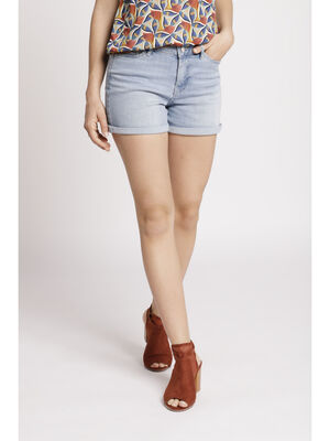 Short droit en jean denim bleach femme